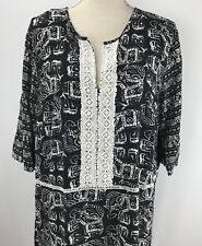 Merona Woman's Tunic Blouse Top Geometric Elephant Lace XXL Black White