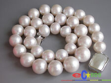 """p2844 HUGE REAL 17"""" 15mm ROUND WHITE PEARL NECKLACE 925SILVER MABE"""