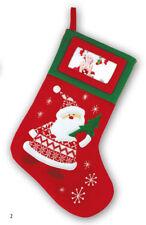 Calza befana personalizzabile con foto tessuto rosso/verde dim.45cm ZEP Natale
