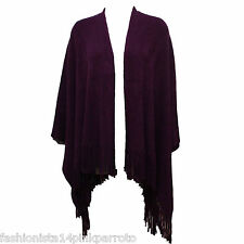 Dark Purple Knitted Poncho with Fringed Hemline