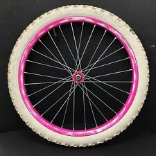 """Complete 20"""" Front Pink Magenta Bicycle Wheel, 1.95"""" White Tire - BMX Bike #H26"""