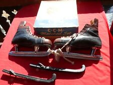 Vintage ca 1960 CCM 'Matched Set' Leather HOCKEY PLAYER ICE SKATES w Box Size 11