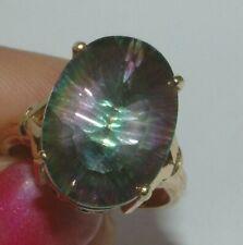 9 Carat Gold MYSTIC TOPAZ  Ring  14.40 CT purple green colours