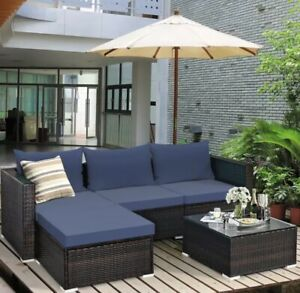 Whicker Outdoor Sectional Sofa 5 Pieces with Coffee Table