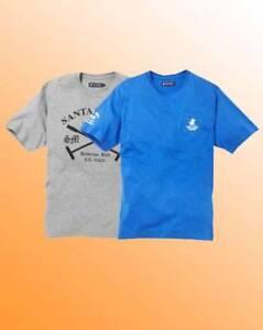 New Santa Monica Pack of 2 Cool Mens Fashion T-Shirts Size 3XL Blue & Grey