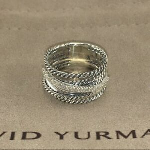 David Yurman Sterling Silver 925 Crossover Wide Ring with Pave Diamonds Size 8
