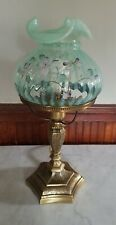 VINTAGE FENTON OPALESCENT RIB OPTIC GREEN GLASS SIGNED HAND PAINTED LAMP 17""