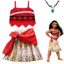 UK Moana Costume Hawaiian Princess Fancy Cosplay Dress&Necklace 3-11Y Outfit