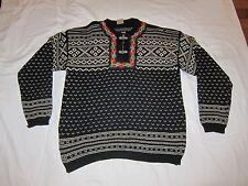 Dirdalstrikk Nordic Cardigan Sweater Sz 50 XL Black Multi Wool Pewter Clasps