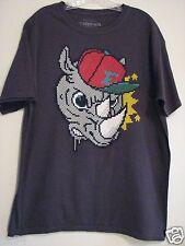 ECKO UNLTD Dark Gray Crewneck Digital Pixel Rhino Large 100% Cotton T Shirt