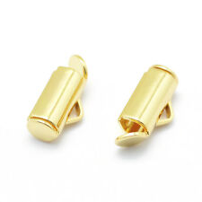 100x Gold Tone Brass Tube Slide On End Clasps Slider End Caps Nickel Free 11.5mm