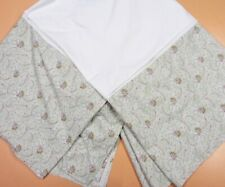 LAND'S END HOME Pale Sage Green Paisley Cotton KING Tailored Bed Skirt Ruffle