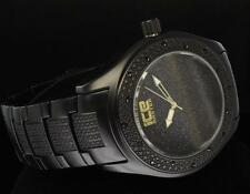 Jet Black CZ Bezel iCE Master Bling HipHip Rodeo Stainless Steel Back Mens Watch