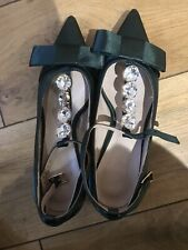 Marni Dark Green Satin Diamante Shoes 37 Nearly New