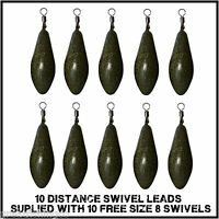 10 Distance Swivel leads coated camo carp leads  + 10 free swivels
