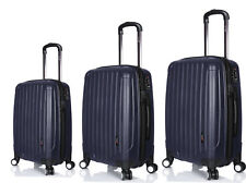 "3 Hard Luggage Case Bag Set Navy Blue 4 Double Wheels TSA Lock 28"" + 24"" + 21"""