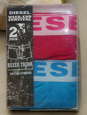 Nib Diesel Mens Rocco 2 Pack Cotton Stretch Boxer Trunk Pink Blue Xl $35