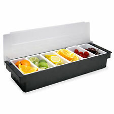 6 Compartment Condiment Dispenser Bar Fruit Caddy Garnish Tray Pukkr