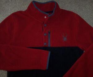 NWT Spyder Red/Black FLEECE PULLOVER Shirt Top Jacket 1/4-SNAP Neck Men S SHARP