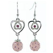 Boucles D'oreilles femme coeur cristal Swarovski boule résine rose argentées