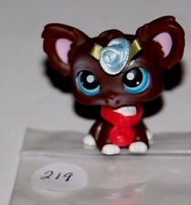❤Littlest Pet Shop #219 Chocolate Brown Chihuahua Dog with Blue Eyes Collar LPS