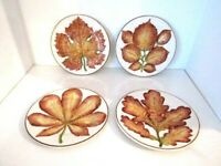 Vintage Decorative Leaf Motif MARIPOSA Plates Made In Italy Set of 4