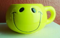 Round Smiley Face Mug Yellow Vintage 1998