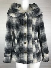 Charlotte Russe Small Black Gray Cream Plaid Car Coat Jacket Lined