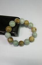Natural Grade A light yellow/white  jade 10 mm beaded stretchy bracele(14 beads)