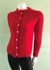 True Vintage Red Mohair Wool Rockabilly Hand Knitted Jumper Cardigan Xs-S 8-10