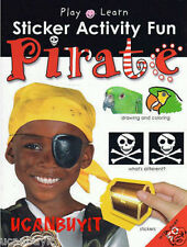 PIRATE Sticker Fun Educational Activity Workbook Ages 3+