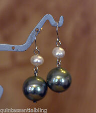 Sterling Silver Genuine White Pearl & Green Shell Pearl Earrings