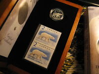 2004 Canada Proud Polar Bear Silver $2 Coin & Stamp Mint Set.
