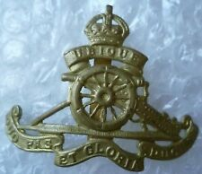 Badge- VINTAGE Royal Artillery Service Dress Cap Badge BRASS with Slider