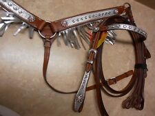 PONY Crystal Metallic Silver Fringe Leather Bridle Headstall Reins Breast Collar