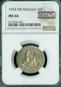 1956 NICARAGUA 50 CENTAVOS NGC MS-66 PQ 2ND FINEST GRADE MAC SPOTLESS  *