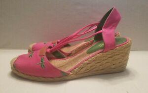 Lauren Ralph Lauren  wedge espadrilles 9B with embordered dragon fly pink fabric