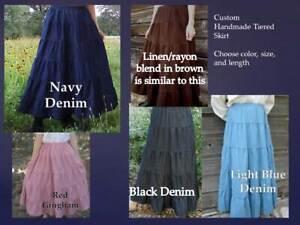 CUSTOM Ladies & Plus long full tiered blue jean skirt denim pick size & color