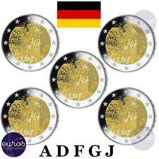 5 x 2 euros commémoratives ALLEMAGNE 2019 - 30 ans Chute Mur de Berlin - ADFGJ