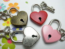 Vintage Antique Style Mini Padlock Key Lock Heart Shaped(Assorted Color) 4x