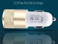 2 IN 1 UNIVERSAL LED USB 12-24V DUAL CAR CHARGER CIGARETTE SOCKET LIGHTER GOLD