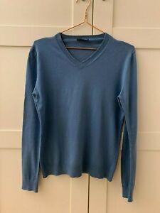 Sisley blue plain cotton jumper in size S