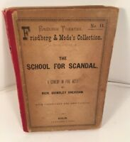 School for Scandal - A Comedy in 5 Acts Sheridan Berlin 1897 Antique Book RARE