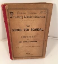 School for Scandal A Comedy in 5 Acts Sheridan Berlin 1897 Antique Book RARE