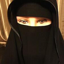 Saudi two Layer Niqab Hijab Burqa Islamic Face Cover Veil Abaya Burka Muslim