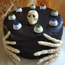 Edible Halloween cake decorations skull skeleton hands eyes cupcake toppers