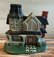 Vintage Victorian Blue House Red Shutters House Cast Iron Figural Door Stop