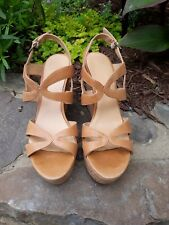 Nine West Beige Leather Cork Wedge Peep Toe Slingback Sandal 9.5