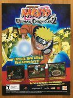 Naruto: Uzumaki Chronicles 2 PS2 Playstation 2 2007 Vintage Poster Ad Art Print