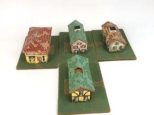 Vintage Cardboard Buildings for Model Trains Set of 4 -  Model Railroads Train